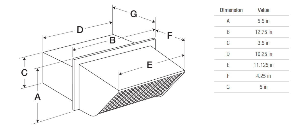 Picture of Rectangular Connection Hooded Wall Cap (Model WC-10x3)