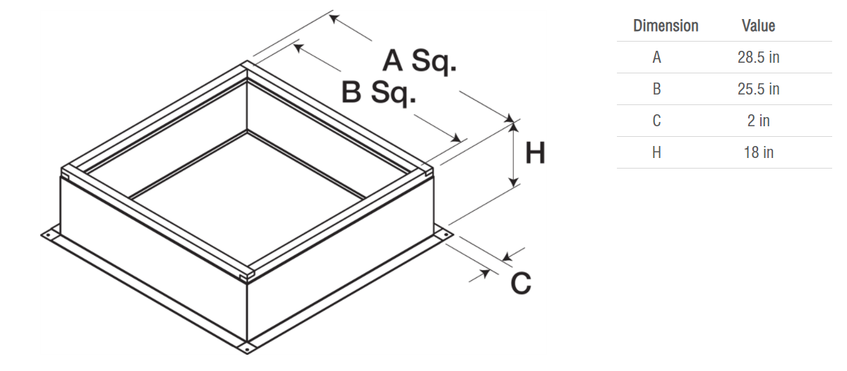 Picture of Roof Curb for 30 In. Square Base, 18 In. High