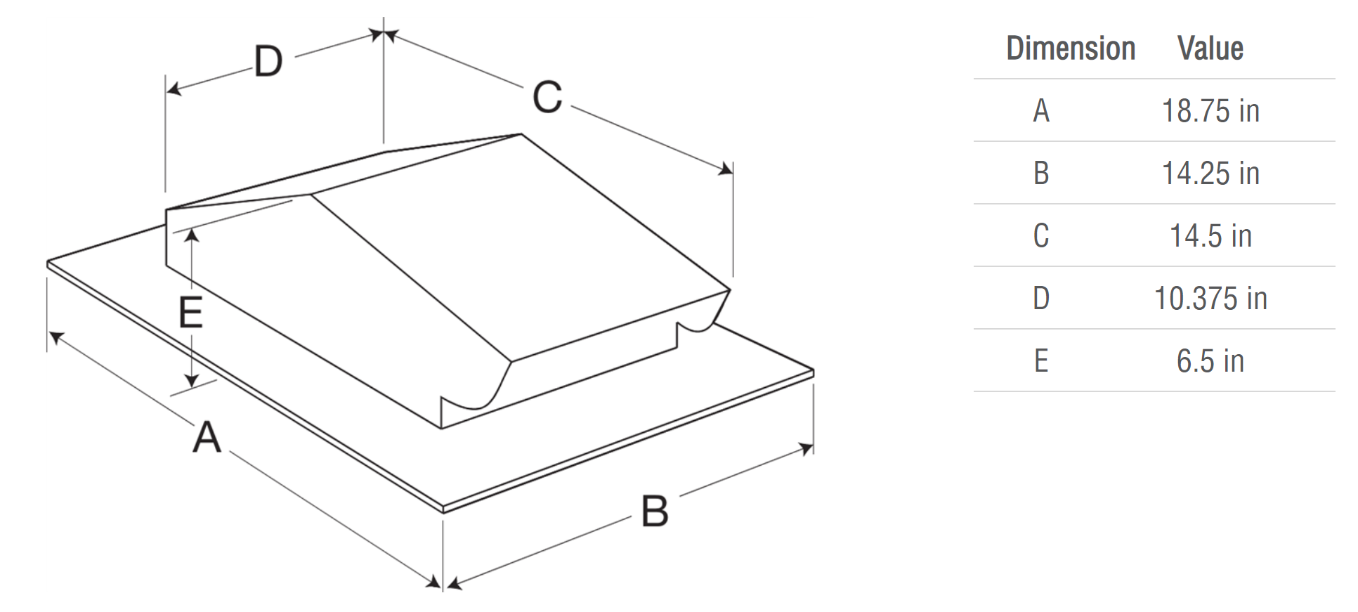 Picture of Pitched Roof Cap, Model RJ-6x9, For Models SP/CSP